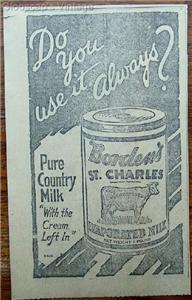 "1920 Borden's St. Charles Evaporated Milk ""Pure"" Ad"