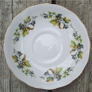 Old Royal Vale Bone China Saucer Berries #RV3002