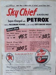 1955 Texaco Sky Chief Petrox with Gas Globe Sign Ad