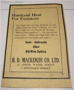 1921 Old Sydney Coal Mine Hardcoal Heat for Furnaces Ad