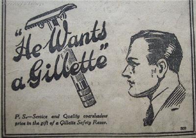 1920 Gillette Safety Razor Christmas Gift Newspaper Ad