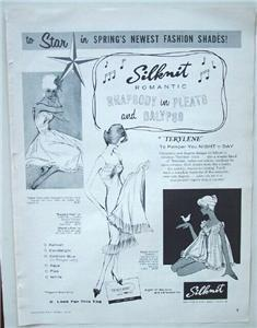 1958 Silknit Romantic Fashion Terylene Lingerie Ad