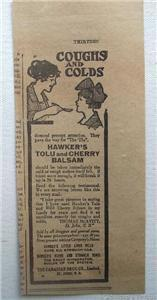 1920 Hawker's Tolu & Cherry Balsam Cough Syrup Ad