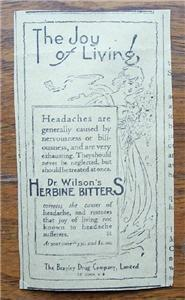 "1920 Dr Wilson's Herbine Bitters ""The Joy of Living"" Ad"