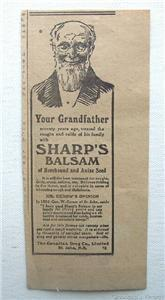 1920 Sharp's Balsam Horehound & Anise Cough Syrup Ad