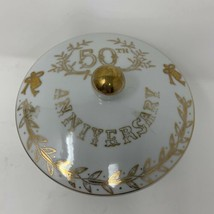 Lefton China 50th Anniversary Covered Trinket Candy Dish 3 Footed Gold 2606 - $12.71