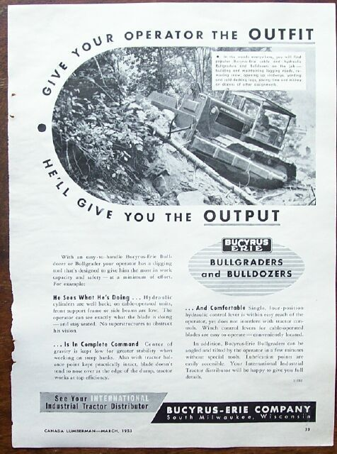 1953 Bucyrus-Erie Bullgraders and Bulldozers Ad
