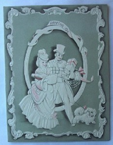 Primary image for Christmas Card Gaily Dressed Couple and Dog Framed Vignette Vintage
