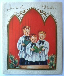 Primary image for Old Christmas Card: Three Young Boy Choir Singers
