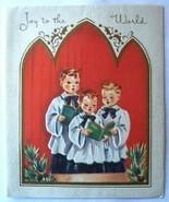 Old Christmas Card: Three Young Boy Choir Singers - $2.50