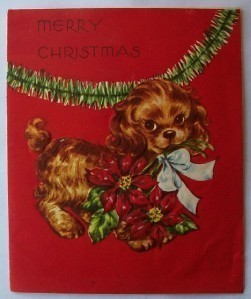 Old Christmas Card: Brown Spaniel Dog w Pointsettia