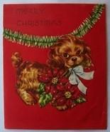 Old Christmas Card: Brown Spaniel Dog w Pointsettia - $2.50