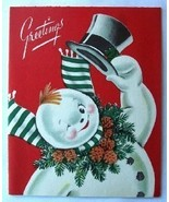 Old Christmas Card: Jolly Smiling Snowman with Top Hat - $2.50