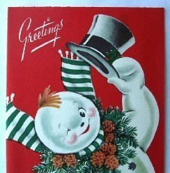 Old Christmas Card: Jolly Smiling Snowman with Top Hat