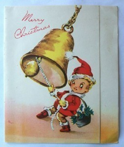 Merry Christmas Vintage Card with Bell and Elf