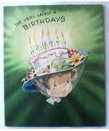 Girl Wearing Cake With Candles Hat Birthday Card - $2.50