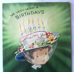 Girl Wearing Cake With Candles Hat Birthday Card