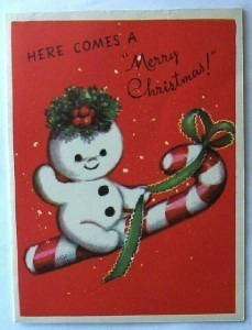 Primary image for Puffy Smowman Riding Candy Cane Vintage Card