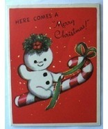 Puffy Smowman Riding Candy Cane Vintage Card - $2.50