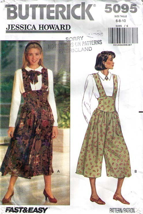 Primary image for 1990 JUMPER, JUMPSUIT & TOP Pattern 5095-b Sizes 6-8-10 - Complete
