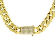 "1.50 Carat Diamond Lock Cuban Link Chain Necklace 10K Yellow Gold 28"" 124.5 Gram - $6,592.41"