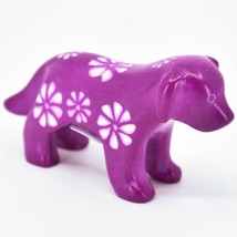 Vaneal Group Hand Carved Kisii Soapstone Fuchsia Standing Puppy Dog Figurine