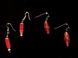 Vintage Two Pair Red Dangling Stone Clear Red Gold Bow Fashion Jewelry E... - $8.66