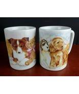 2 mugs Marilee Carroll Otagiri corgi cocker spaniel dog puppy teddy bear... - $11.86