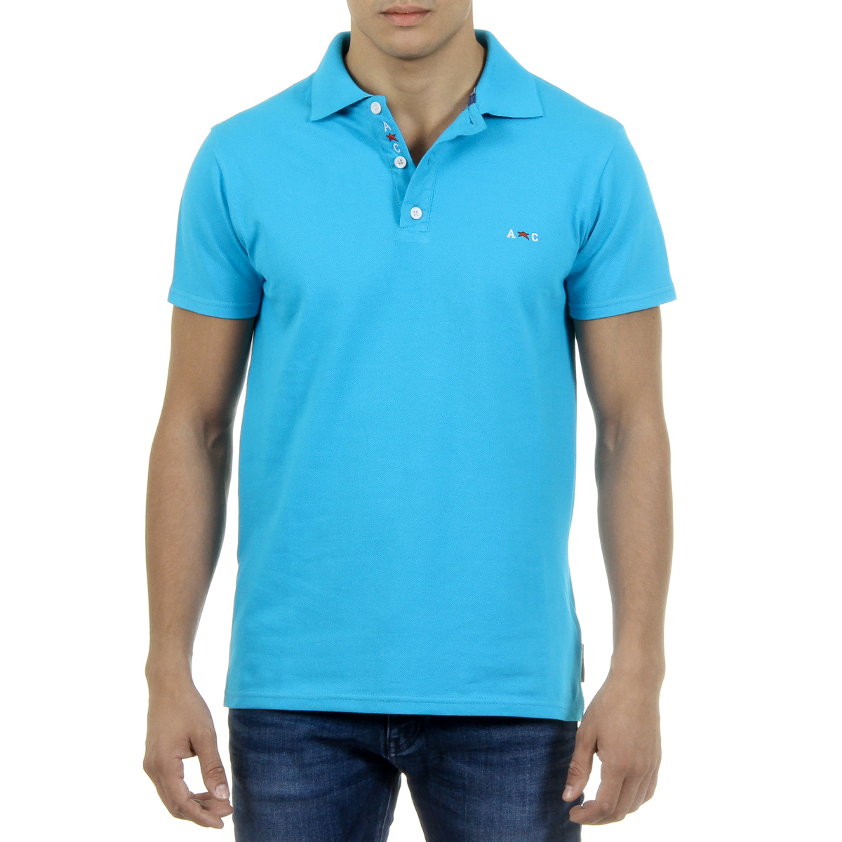 Primary image for Andrew Charles Mens Polo Short Sleeves Light Blue SEFU