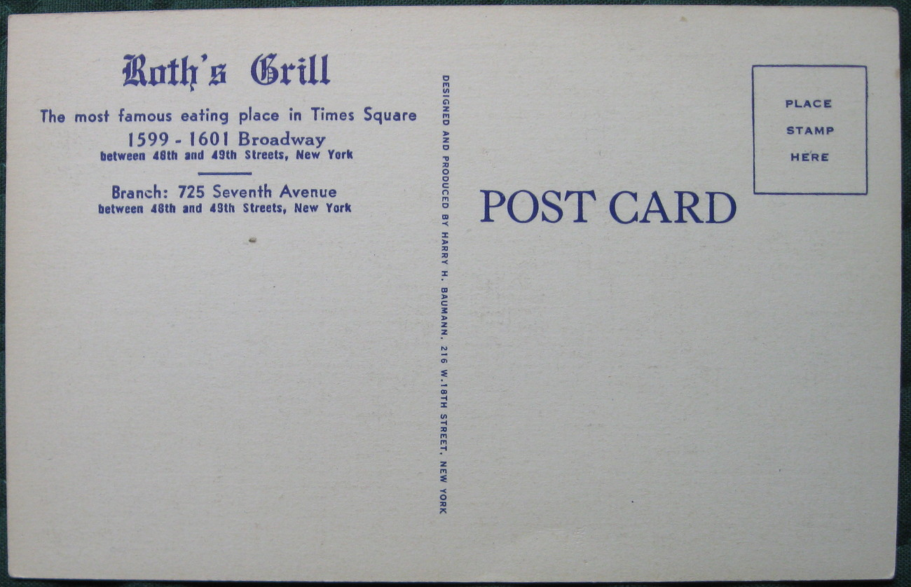 Harry H. Baumann, White Border Postcard, Roth's Grill and Re