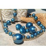 Vintage Necklace Set Japan Metallic Blue Beads 2 Strands - $29.95