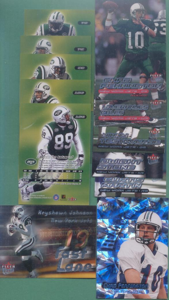 2000 Fleer Ultra New York Jets Football Team Set
