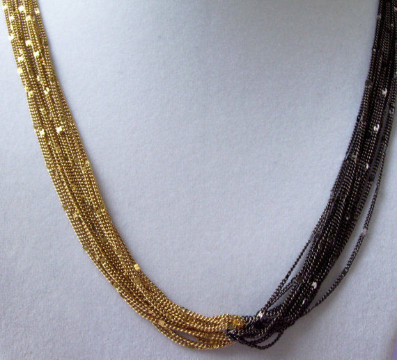 OROTON Gold n Black Chain Multi Strand Necklace Twist Sparkle Curb Unique Vintge