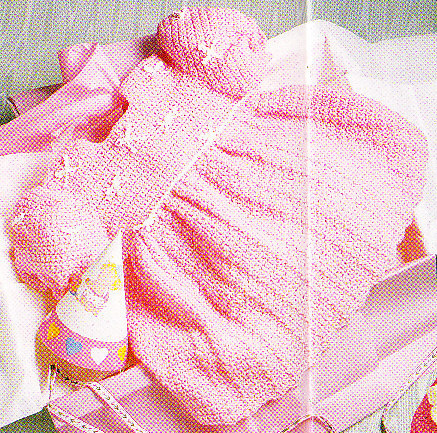 *Crochet Baby Dress Bulky Sweater Afghan Diamond Mesh Afghan