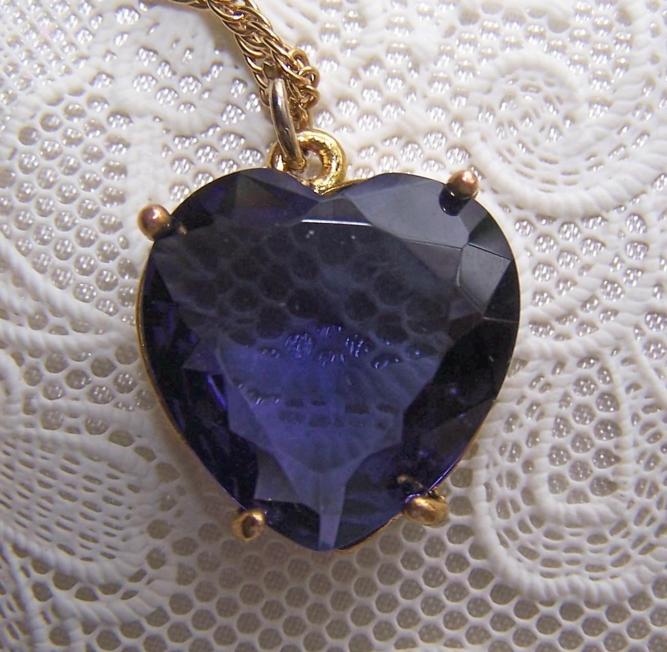 Huge Vintage Valentine Violet Glass Heart Pendant