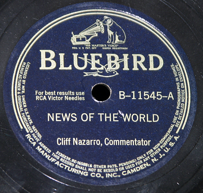 "Cliff Nazarro ""You Go Your Way & News Of The World"""
