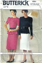 1990's Designer TOP & SKIRT Pattern 6331-b Size 8 - Complete - $9.99