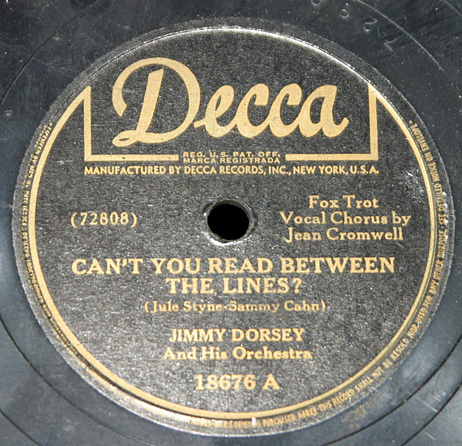 "Jimmy Dorsey ""Negra Consentida & Can't You Read Between The Lines""   78"