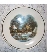 The Farmer's Home Winter Plate   Currier & Ives   Gold Trim  Farm Scene  - $4.75