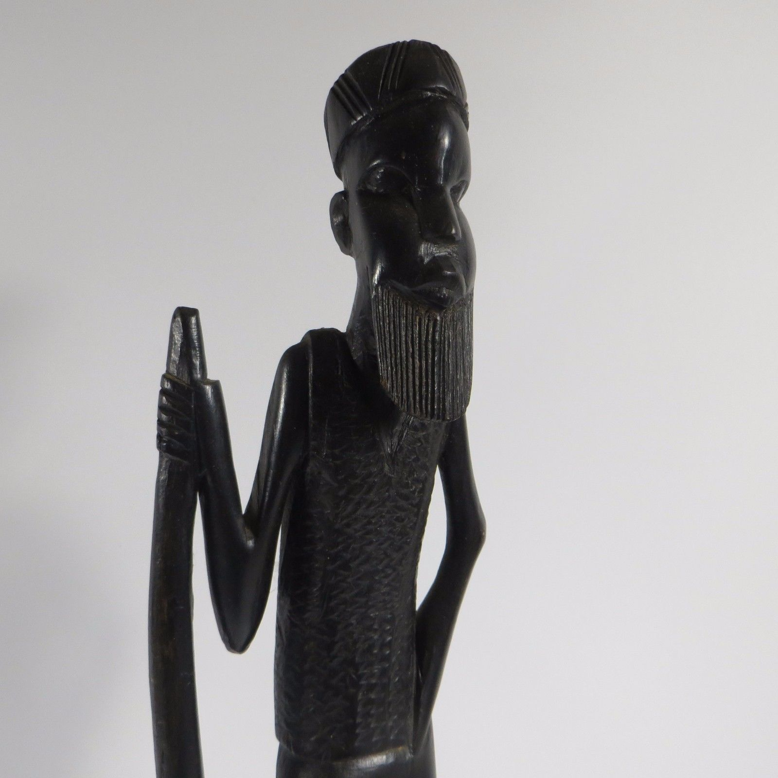 Vtg Tribal African Man With Staff Ebony Wood And 50