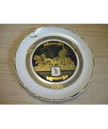 La Cibeles Madrid Collector Plate Gold Plated Design Lions Pulling Cart - $15.95