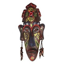 George Jimmy Small Carved African Mask Wall Hanging Africa Decor Wall Art Mask f - $25.37