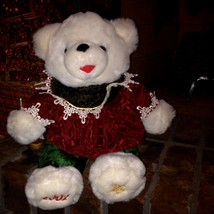 2002 DanDee Walmart Christmas White Snowflake Girl Teddy Bear Bow Green Red - $19.80
