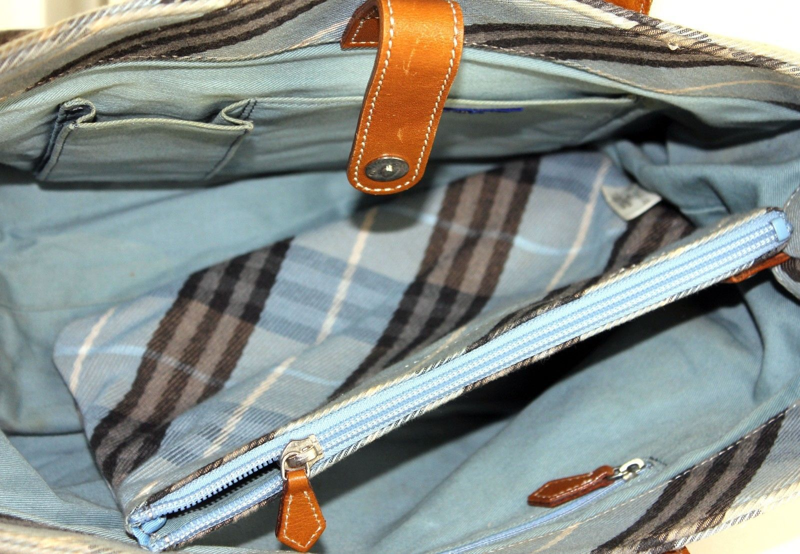 533074033a64 Auth Burberry Made in Japan aqua blue Nova Check Pattern fabric tote Hand  bag