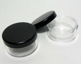 20 Cosmetic Jars Empty Plastic Beauty Containers 30 Gram Matte Black Lid... - $41.95