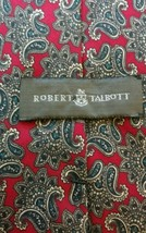Robert Talbott  Red Green Gray Black Paisley Print Silk Tie  Hand sewn USA - $12.99