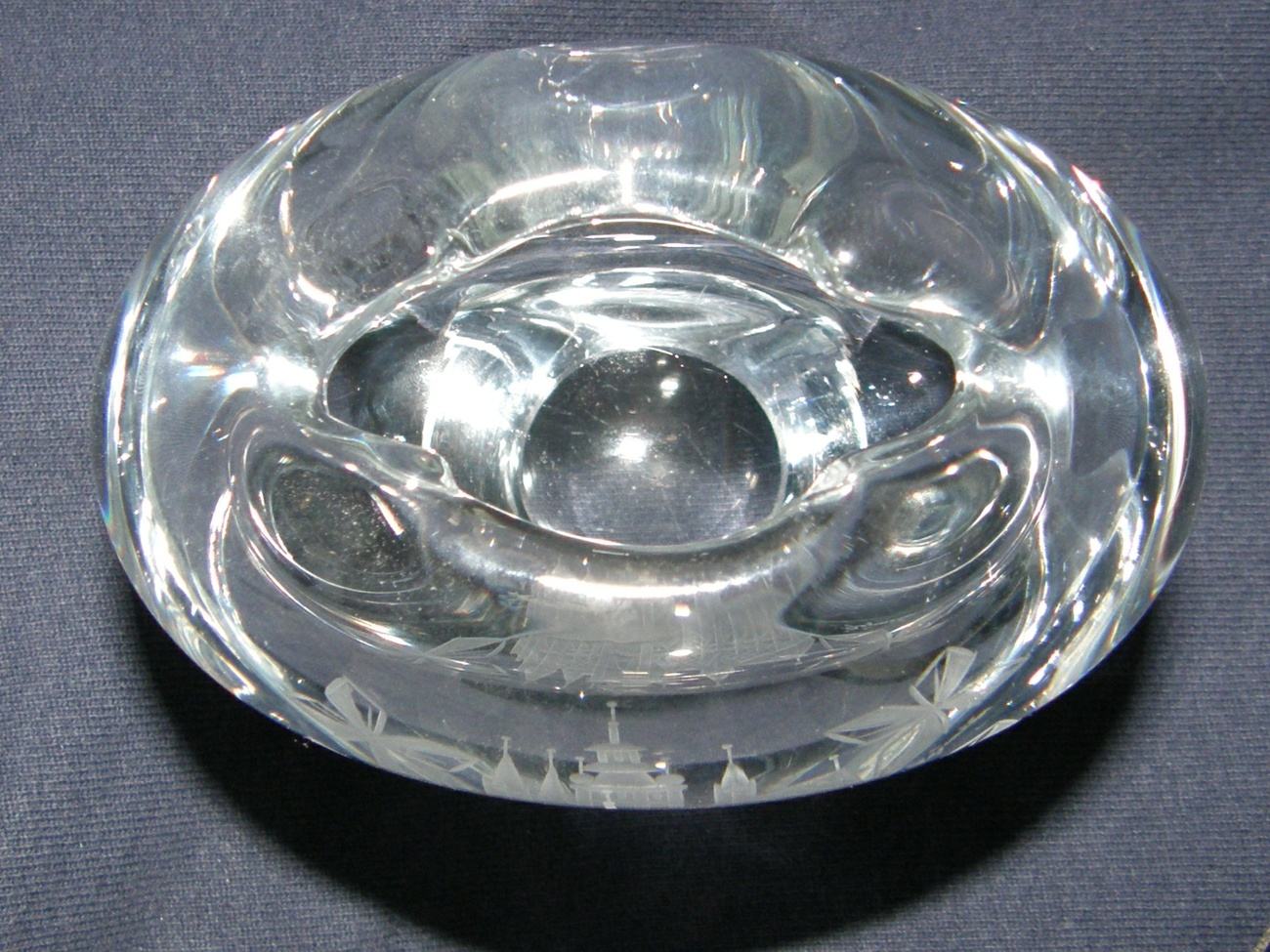 Commemorative Crystal Art Glass Vase/Paperweight - signed