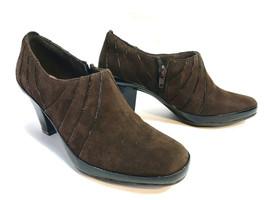 CLARKS brown suede leather comfort dressy shootieelegant pumps 7 FREE SHIP! - $49.45