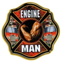 "ENGINE MAN  Full Color  REFLECTIVE FIREFIGHTER DECAL  - 4"" x 4"" image 2"