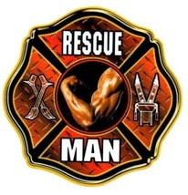 RESCUE MAN Full Color Highly Reflective FIREFIGHTER DECAL FD Rescue Decal image 2